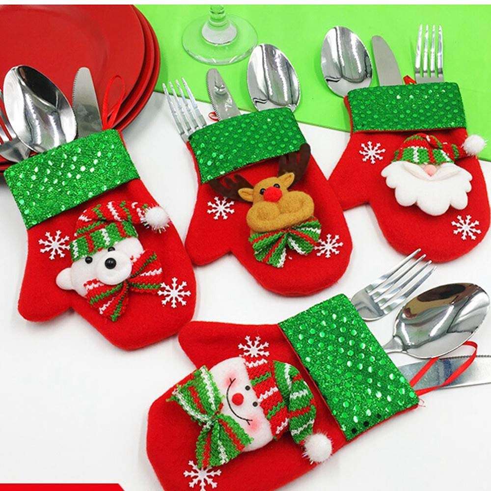 LLguz Christmas Glove Tableware Storage Bag,Xmas Flatware Fork Cloth Pouch Pocket Storage Organizer Container Holder for Dinner Kitchen Decoration Gift D Bear