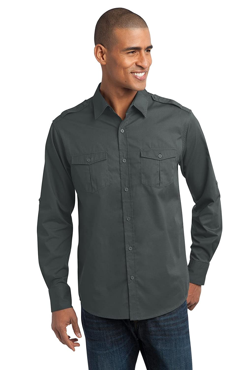 Port Authority Mens Stain-Resistant Roll Sleeve Shirt