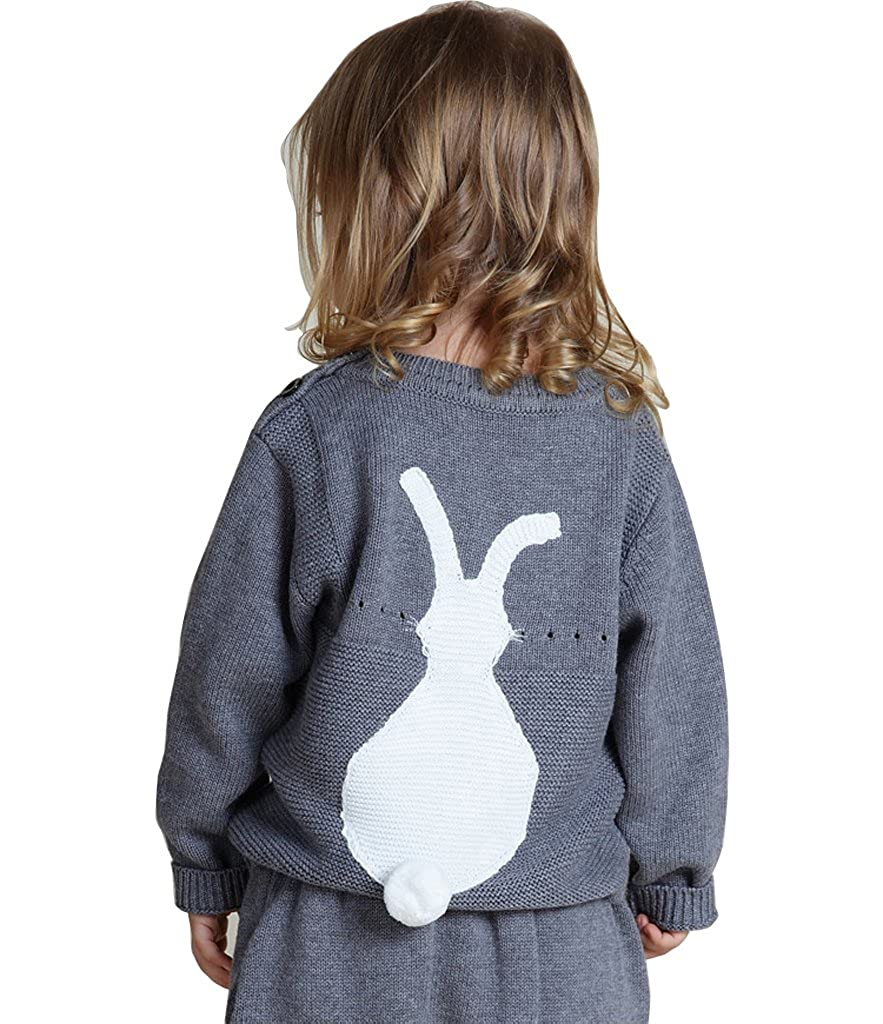 Wennikids Toddler Baby Boy Girl Knit Sweater Cute Bunny Unisex Kid Pullover Sweatshirt LC-OURS-8036