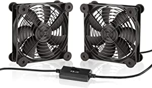KOTTO Big Airflow Dual 120mm Fans DC 5V Powered Fan with 3 Speed Control, Cabinet Chassis Cooling Fan, Server Workstation Cooling Fan