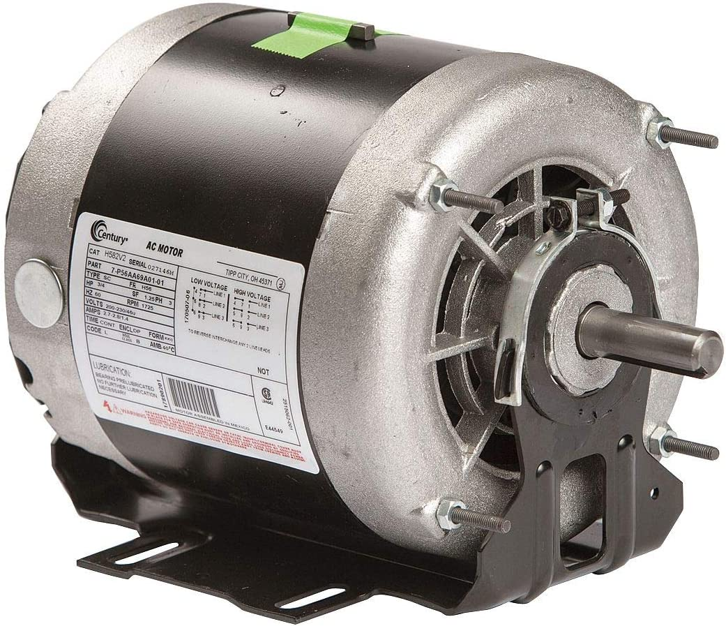 Century 3/4 HP Belt Drive Motor, 3-Phase, 1725 Nameplate RPM, 200-230/460 Voltage, Frame 56 - H582V2