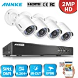 ANNKE 4CH 1080P HD-TVI H.264+ DVR 4 Caméras 2.0MP Jour/Nuit Intérieur Extérieur Système de Vidéosurveillance Caméra de Surveillance Vision Nocturne Sans Disque Dur