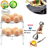 Egg Steam Rack instant pot accessories, 4-Pack Egg Cooker Stand for Pressure Cooker, Cooking Ware Food Steam Rack Stand Basket Egg Cracker Topper with Spoon Set, Stainless Steel Kitchen Tool