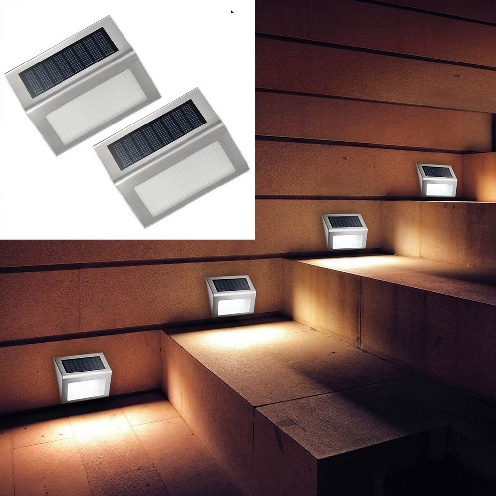 S-power 2 Pack 3 LED Solar Bright Step Light Stairs Pathway Deck Garden Lamps Stainless Steel Wall Yard Outdoor Illuminates Patio Lamps