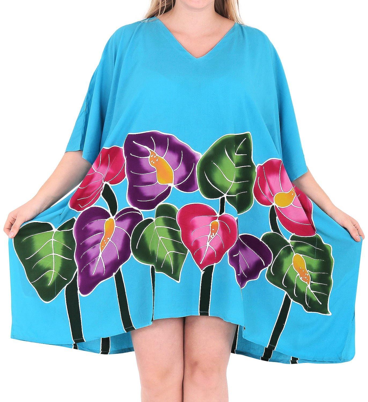 LA LEELA Frauen Strand Bikini Rayon gedruckt Vertuschung hk186 LA LEELA Bademode Badebekleidung Badeanzug leichte Bluse lose Bikini-Vertuschungen Casuals Frauen blau 901705