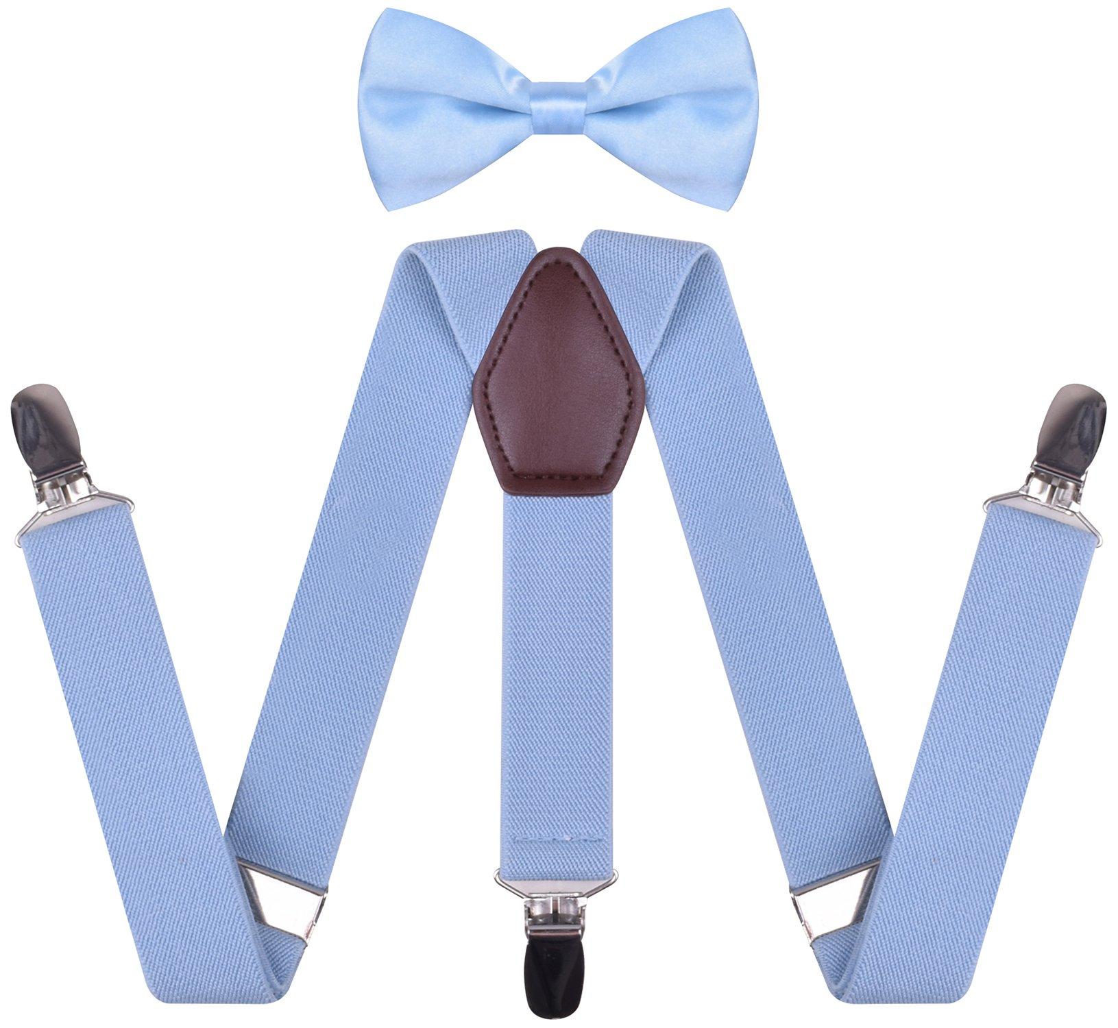Suspender and Bowtie Set for Men Y Shape Womens Braces Suspenders on Jeans,Light Blue,Mens 50 Inches