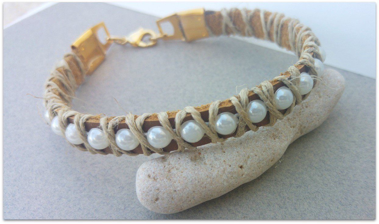 Leather And Hemp Anklet, Women Ankle Bracelet With Pearl Chain