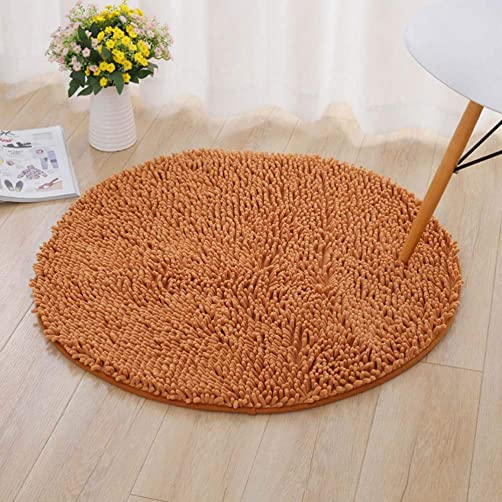 Jizzr Microfiber Shaggy Round Chenille Floor Area Rug Carpet Non-Slip Soft Front Door Mat Entryway Rug for Bathroom Bedroom Kitchen Ground Rugs Christmas Doormat Decoration Champagne 39 X 39