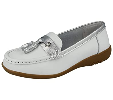 6bdbb4b4dc3 Foster Footwear Ladies Cushion Walk Real Leather Tassel Slip On Wider  Fitting Loafer Moccasin Shoes Size
