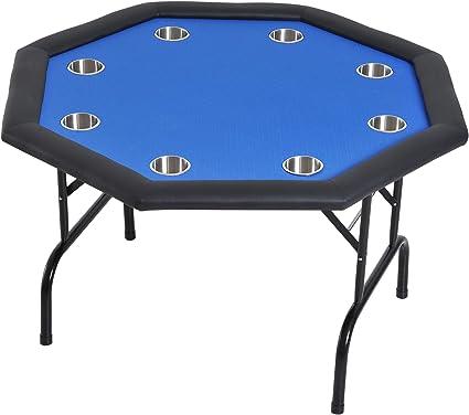 "52/"" Octagon Blue Felt Poker Table W Folding Steel Legs 4 Texas Holdem Card Games"