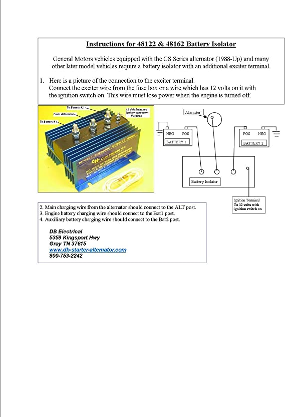 Amazon.com: Cole Hersee 48122 Battery Isolator: Automotive | Battery Isolator 48160 Wiring Diagram |  | Amazon.com