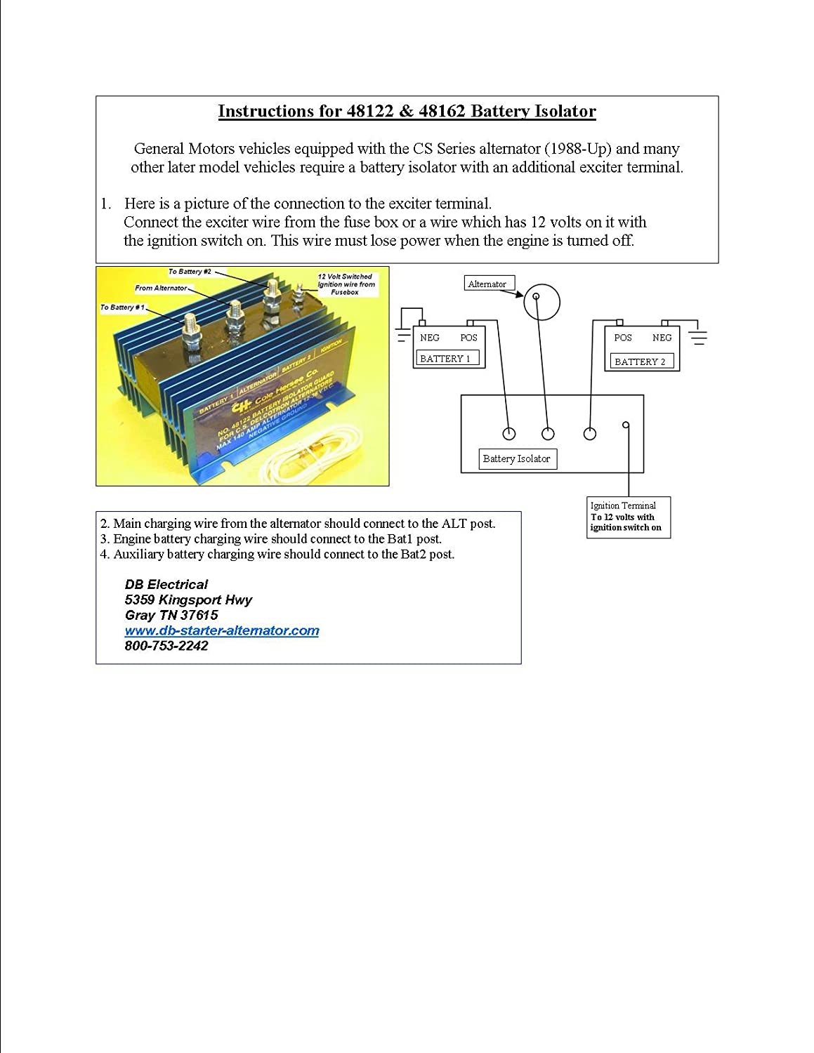 Cole Hersee 48122 Battery Isolator Wiring Diagram List Of Amazon Com Automotive Rh