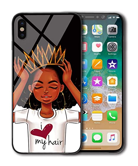 pretty nice e6e7e cc328 iPhone Xs Case, iPhone X Case for Women [Slim Fit], African American Black  Girl Crown Afro Melanin Queen Art Print Design, Shockproof Impact Resistant  ...