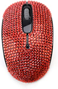 SA@ Luxury 6 Colors Bling Crystal Rhinestone 2.4G Wireless Mouse for Laptop, Notebook, PC, Computer, MacBook Gifts for The Office (red)