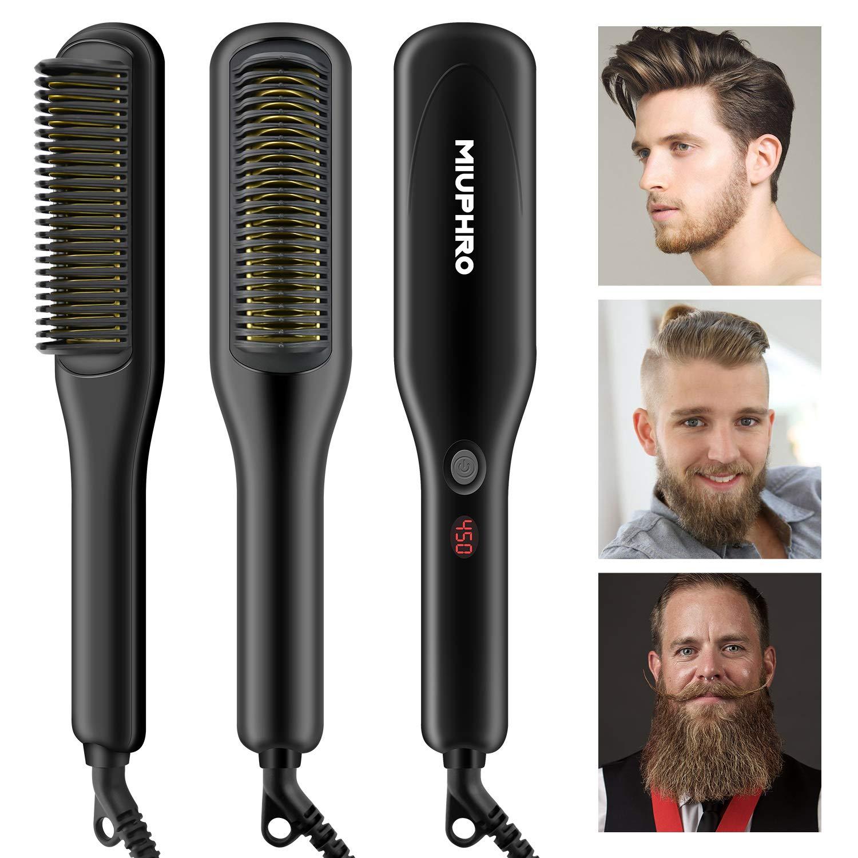 Beard Straightener for Man, Miuphro PTC Ceramic Heating Beard Straightener Brush, Multifunctional Beard/Hair Straightening Brush Comb with Adjustable Temperatures + Anti-Scald Feature for Home&Travel