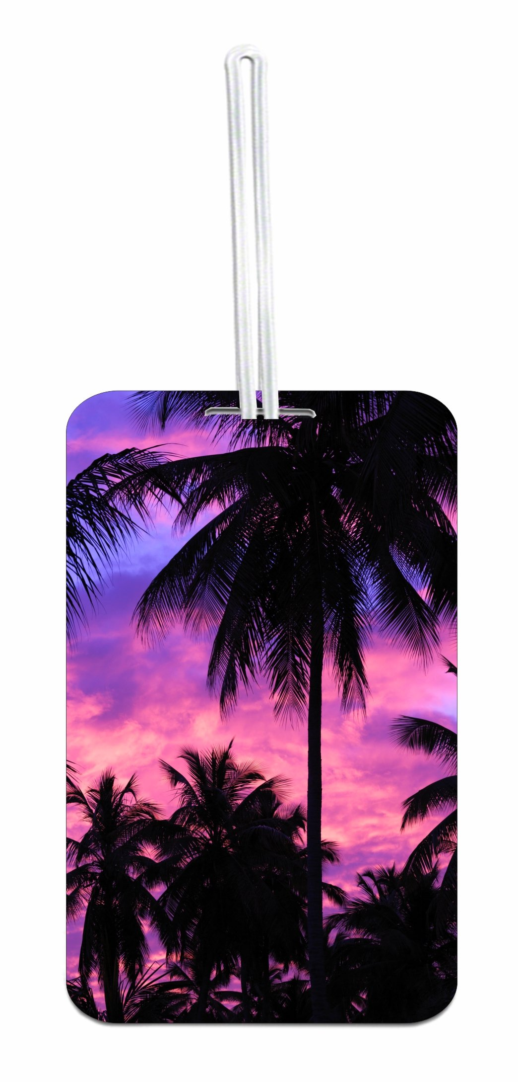 Purple Palm Tree Sunset Hard Plastic Luggage Tag with Personalized Back