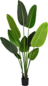 Artificial Silk Bird of Paradise Palm Tree Potted Plant Fake Tropical Palm Tree for Indoor Outdoor, Home Garden Office Decor,1 Pack