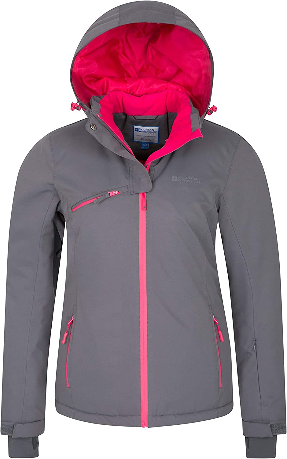 Mountain Warehouse Freezestyle Womens Ski Jacket Waterproof Hood Zip Pockets