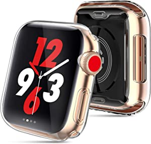 MYECOGO Case for Apple Watch SE Series 6/5 / 4 Screen Protector 44mm,2019 New iWatch Series 5 4 Soft TPU HD Clear Ultra-Thin Overall Protective Cover Case (2 Pack 44mm)