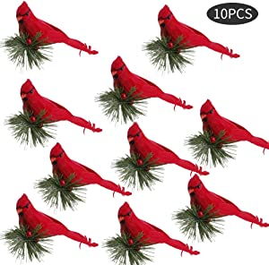 æ— 10PCS 15cm Artificial Red Clip-On Cardinal Birds, Xmas Tree Decoration Festival Decor Red Feathers Artificial Birds with Pine Branches Christmas Tree Ornament Decor