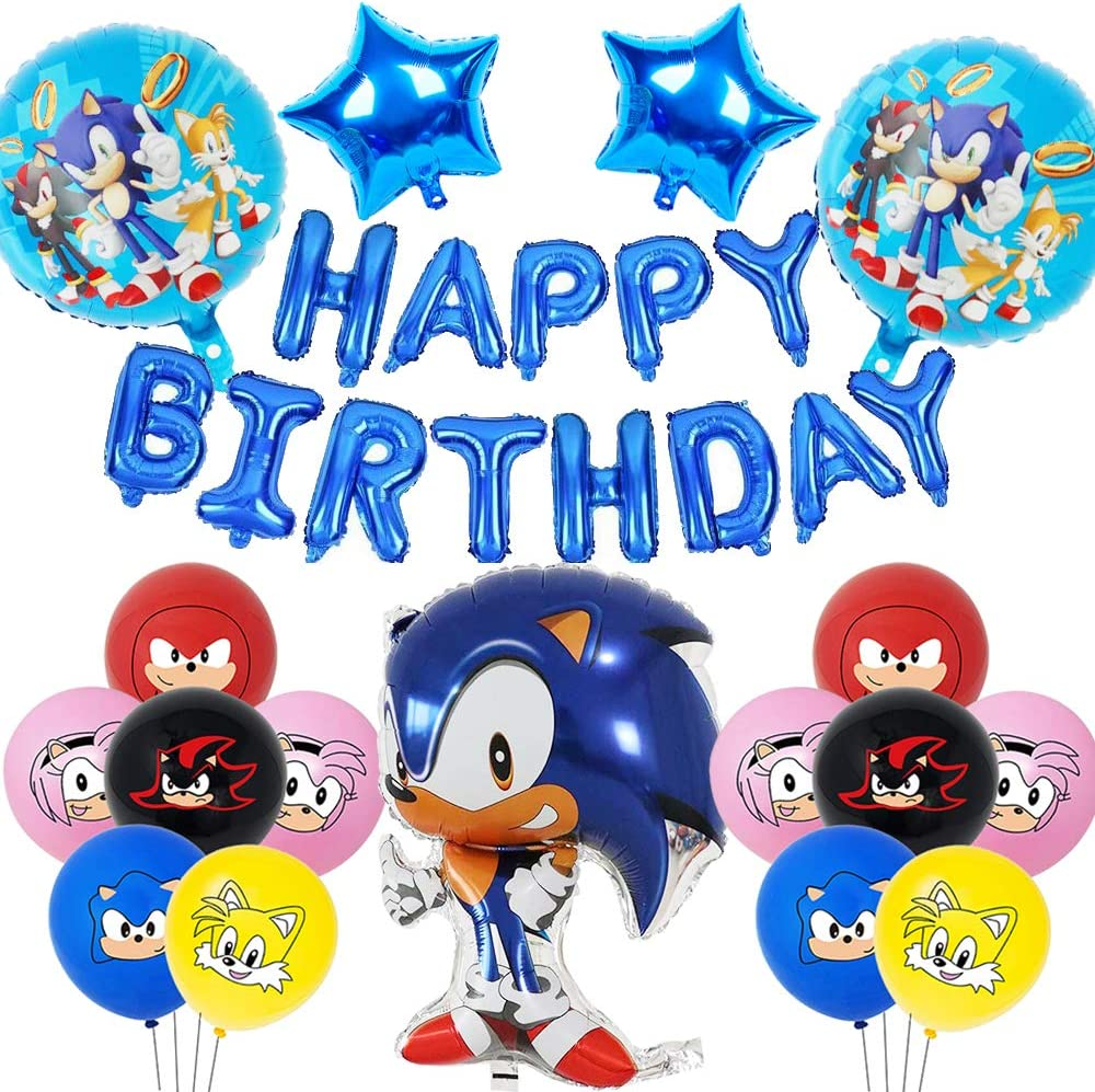 Sonic Happy Birthday Foil Balloon Star Aluminum film latex balloons for Sonic the Hedgehog Kids Baby Shower Childrens Birthday Party Suppliers Sonic the Hedgehog Birthday Party Decorations