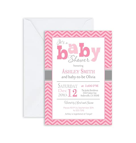 Amazon Com Printed Personalized Girl Baby Shower Invitation Chevron