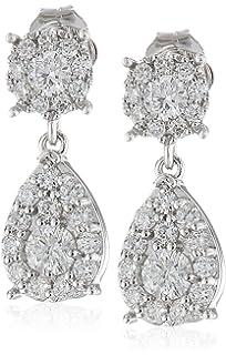 Amazon.com: 14k White Gold Diamond Teardrop Earrings (1/2 cttw ...