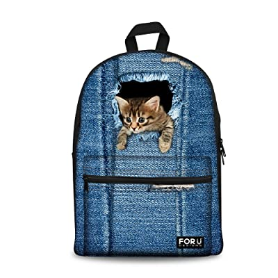 Horeset Cute Cat Dog Print Middle School Student Backpack Casual Daypack for Kids