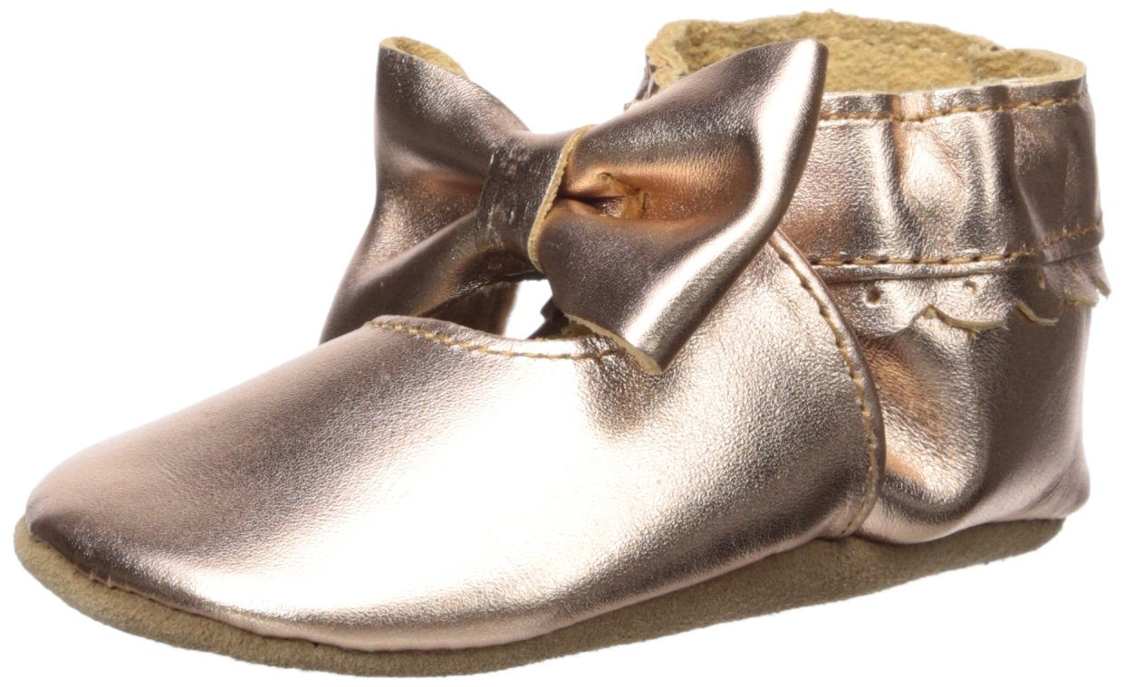 Robeez Girls' Premium Leather Moccasins Crib Shoe, Rosie-Rose Gold, 18-24 Months M US Infant