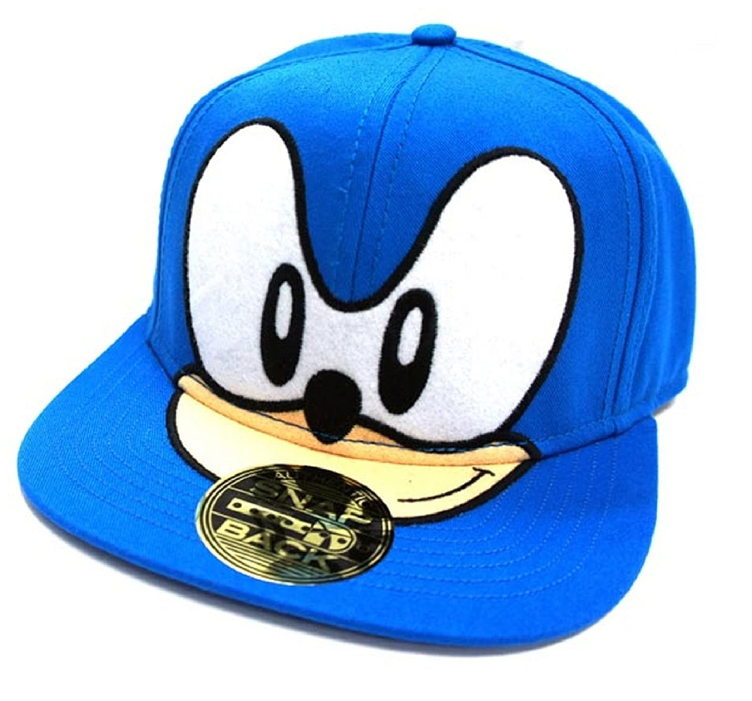 4e3389c7 Amazon.com: Sonic Blue Sonic Face Official Sega Snapback Baseball ...