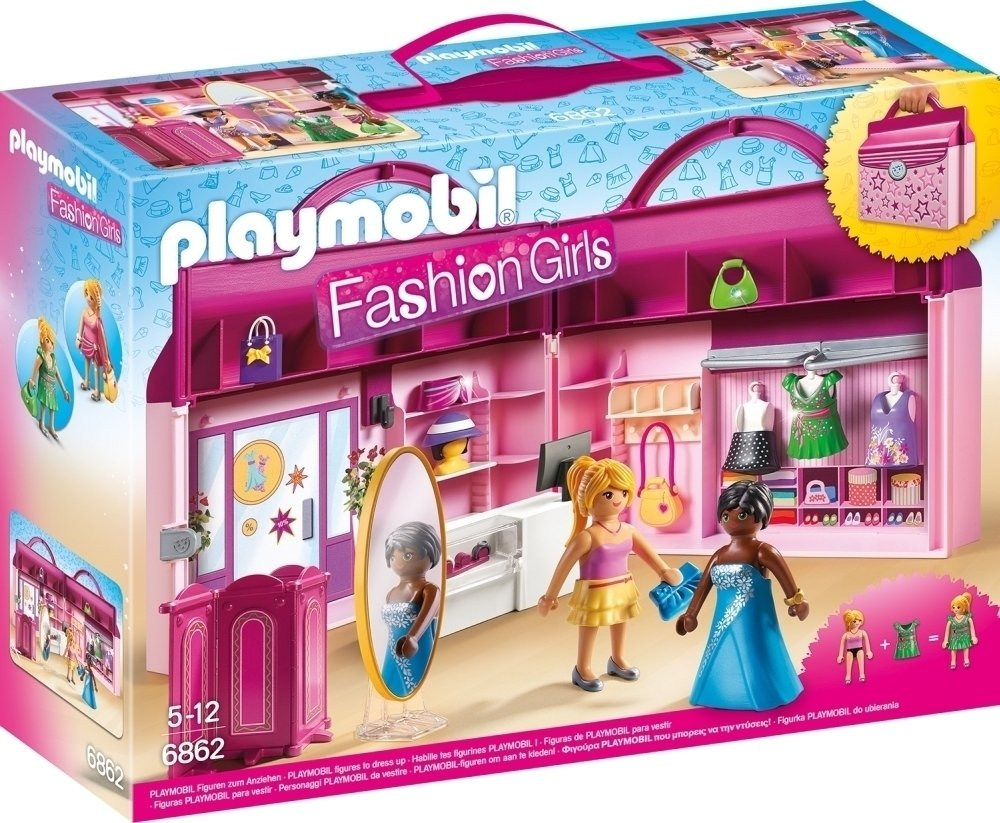 playmobil 6862 fashion girls take along fashion boutique with changeable clothing amazoncouk toys games - Play Mobile Fille