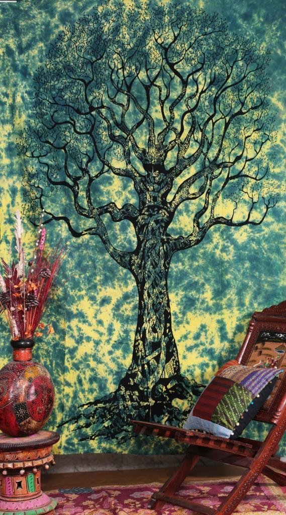 Aakriti Gallery Dry Tree Tapestry Hippy Table Cloth Multi Wall Hanging Decorative Indian Art Bed Sheet (Turquoise, 220x140cms) TS152