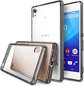 Xperia Z3 Plus Case - Ringke FUSION [All New Dust Cap & Drop Protection][Free Screen Protector&Back Film][SMOKE BLACK] Premium Clear Back Shock Absorption Bumper Hard Case for Sony Xperia Z3 Plus