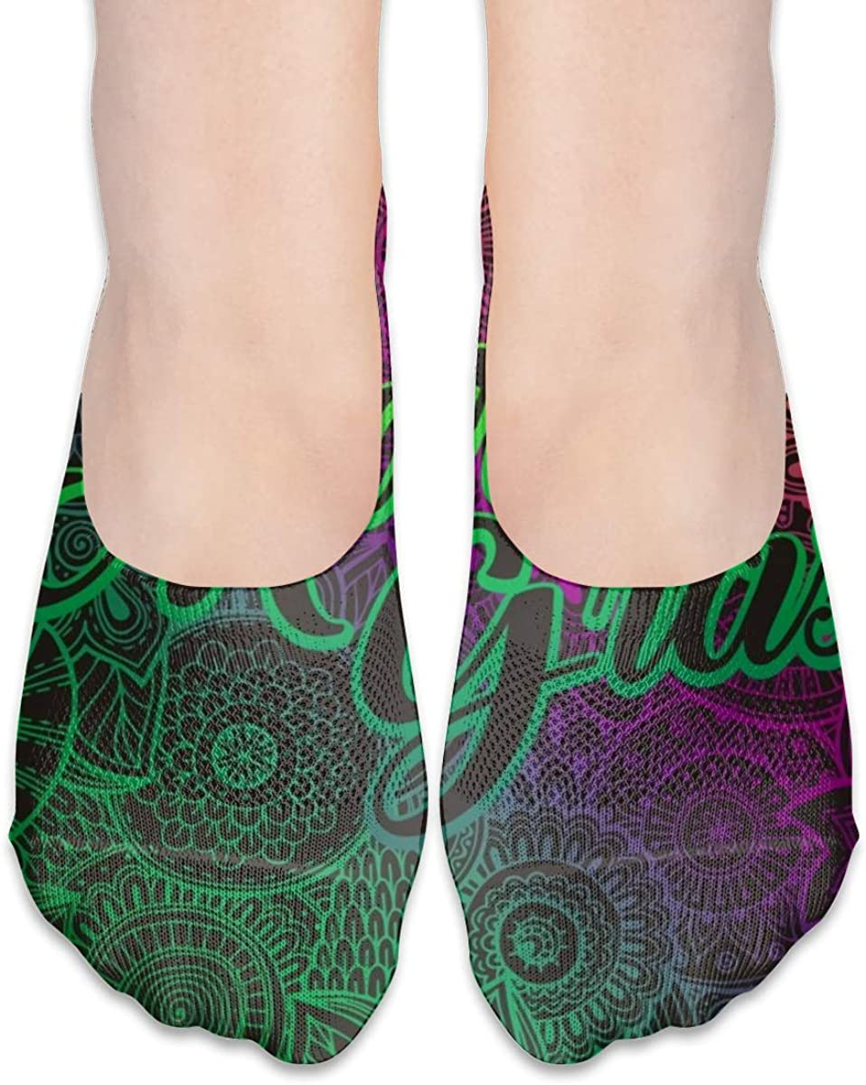 Personalized No Show Socks With Psychedelic Mardi Gras Print For Women Men