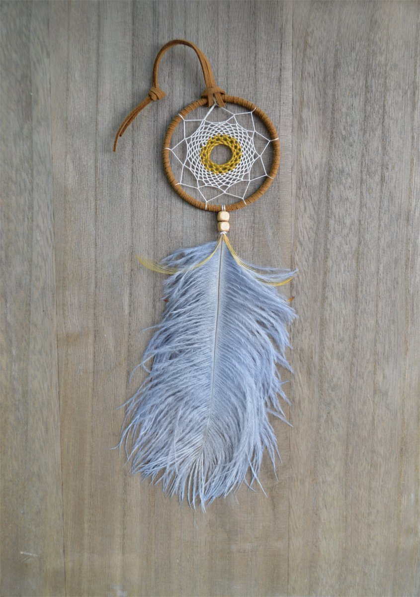 Small Tribal Rear View Mirror Car Dream Catcher Handmade by Riot of Colors