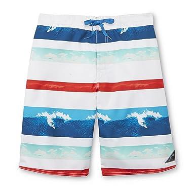 4d71bffdb8 Joe Boxer Mens Red/White/Blue Striped Surfing Board Shorts Swim ...