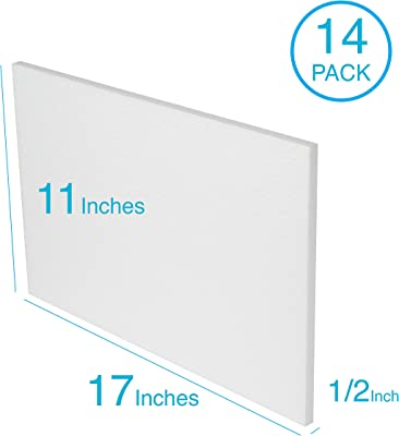 Silverlake Craft Foam Block - 14 Pack of 11x17x0.5 EPS Polystyrene Sheets for Crafting, Modeling, Art Projects and Floral Arrangements - Sculpting Sheets...