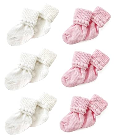 Newborn Baby Socks By Nurses Choice Includes 6 Pairs of Unisex Cotton Socks