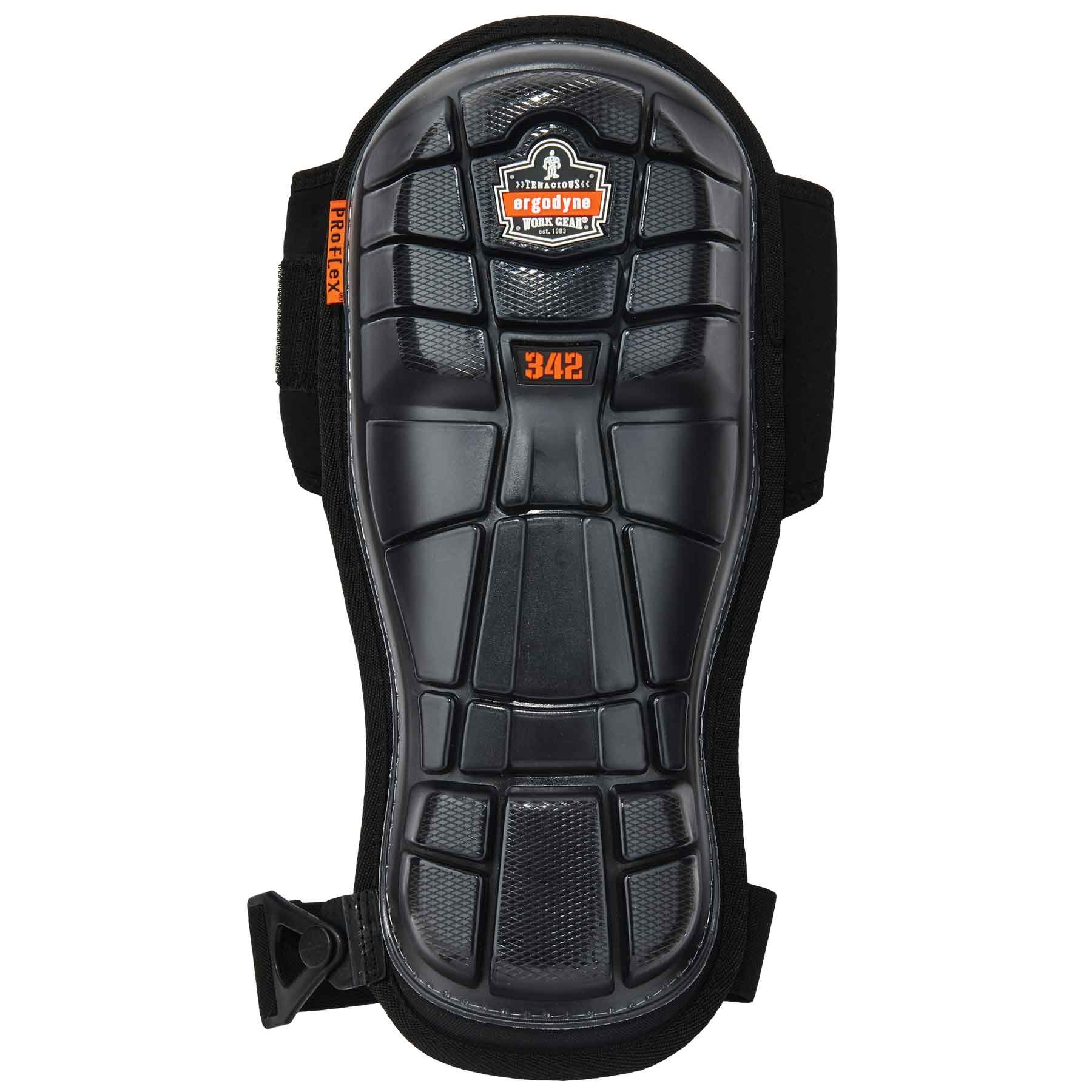 Ergodyne ProFlex 342 Professional Knee Pads, Protective Extra Long Cap, Injected Gel Padded Technology, Adjustable Straps, Black