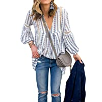 WLLW Women's Long Sleeve V Neck Hollow Out Floral Print Shirt Tops Blouse Tee