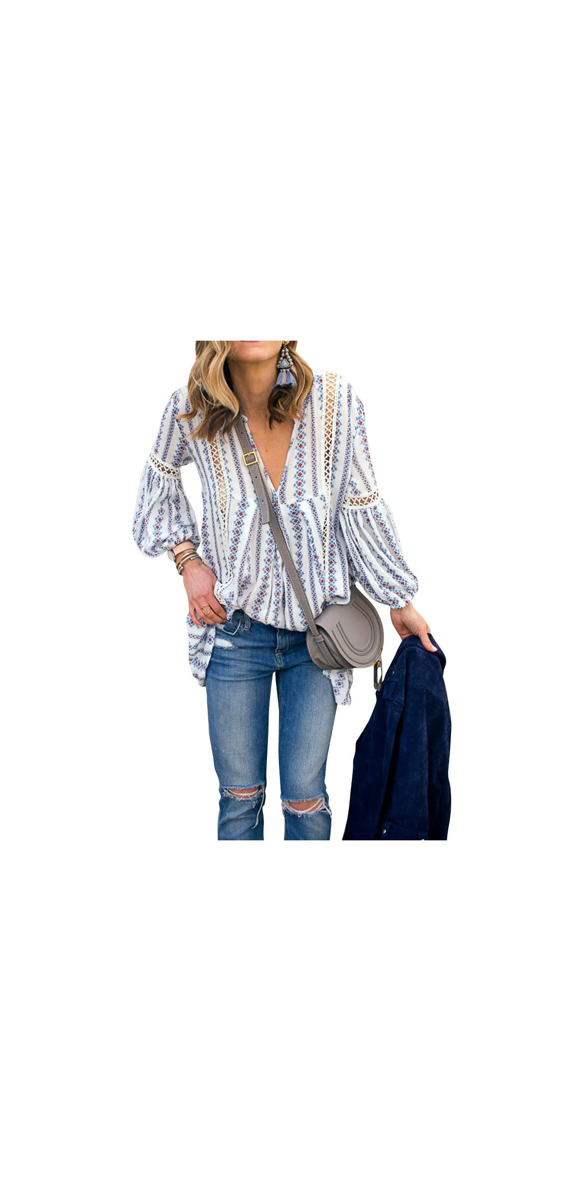 Women Long Sleeve V Neck Hollow Out Floral Print Shirt Tops