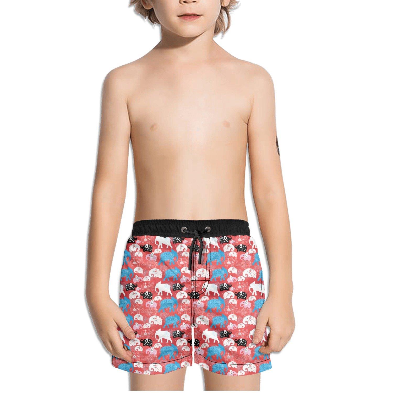 Trum Namii Boys Quick Dry Swim Trunks Cute Elephant Art Flower Pink Shorts