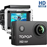 Action Cam Full HD 1080P, 12MP, 170° Grandangolare, 2 Pollici Display Action Camera Sport, 30M Impermeabile, 26 Pezzi Accessori, Video Full HD a 1080P e 30 fps , Topop Video Camera Perfeto per Sport Esterni.