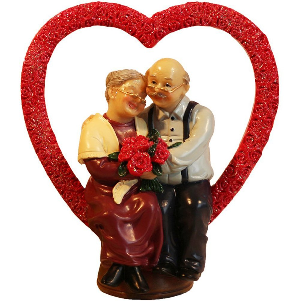 Aoneky Old Couple Novelty Desk Decoration, Loving Elderly Couple Figurines, Old Age Life Resin Home Decoration for Anniversary Wedding Ceremony, for Senior Citizen (Heart)