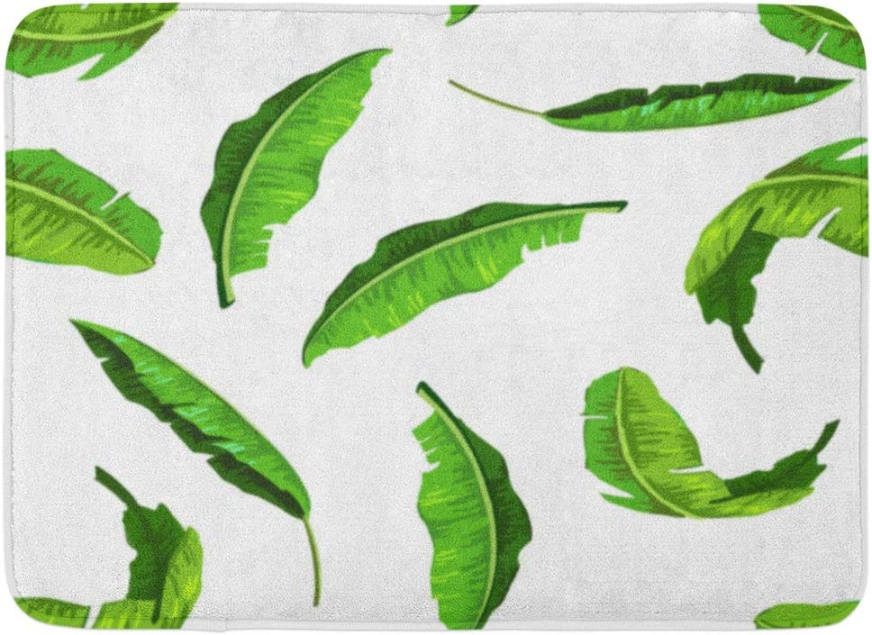 Amazon Com Emvency Bath Mat Drawing Green Leaf Realistic Banana Leaves Pattern Suitable For Any Kind Of Design Tropical Foliage Bathroom Decor Rug 16 X 24 Kitchen Dining