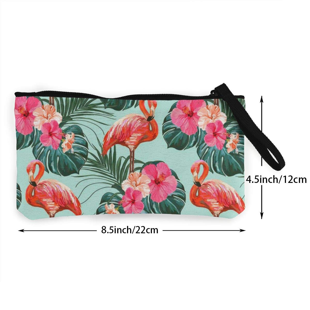 YUANSHAN Leaves and Red Flamingo Unisex Canvas Coin Purse Change Cash Bag Zipper Small Purse Wallets with Handle