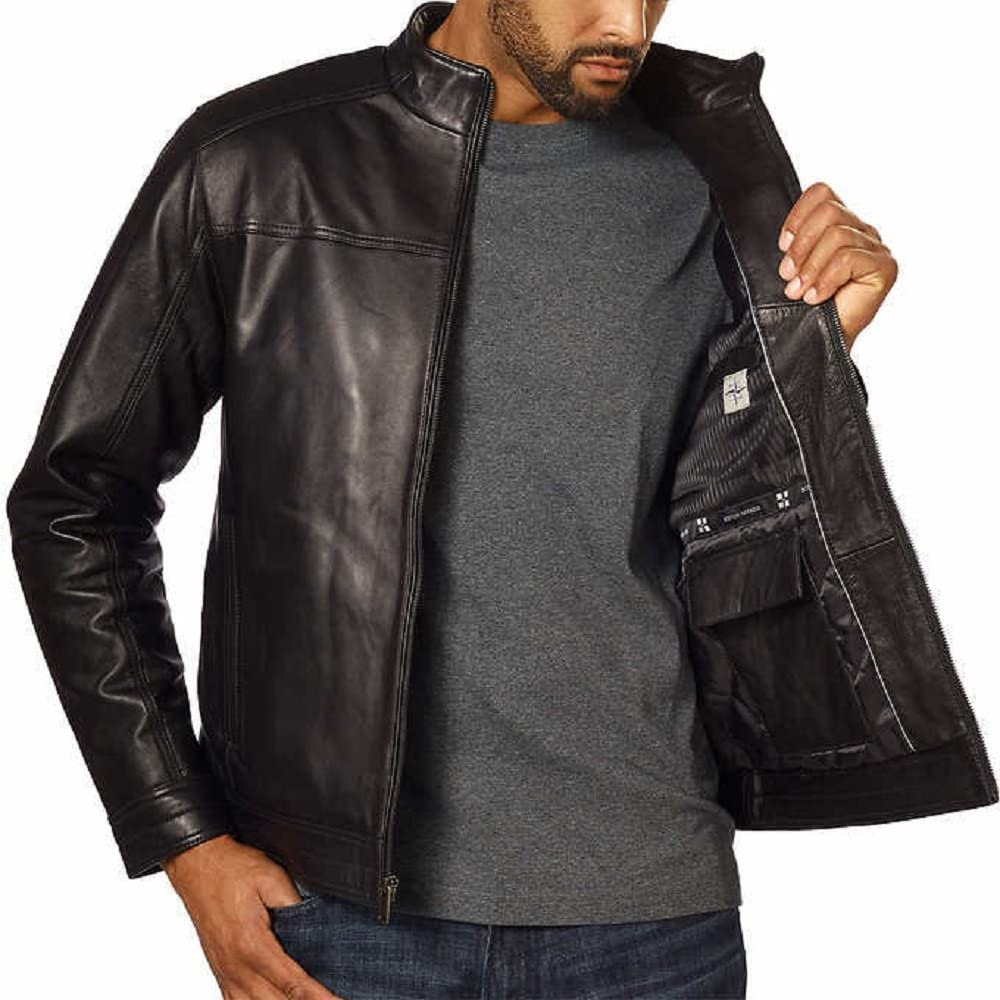 Boston Harbour Mens Genuine Zealand Lambskin Leather Jacket