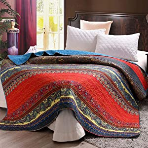 """Exclusivo Mezcla Luxury Reversible 100% Cotton Paisley Boho Stripe Quilted Twin Size Bed Blanket 60"""" x 80"""" Machine Washable and Dryable"""