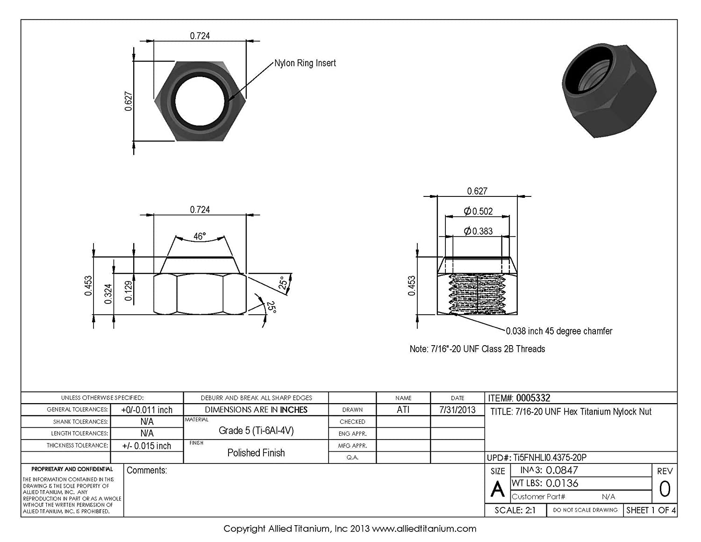 Pack of 6 Ti-6Al-4V 7//16-20 UNF Titanium Hex Nylock Nut Grade 5 609268001 Allied Titanium 0005332, Inc