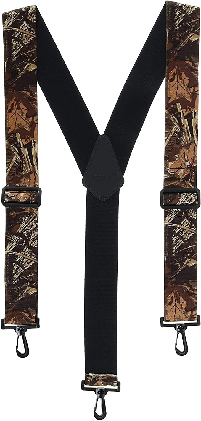 CTM Mens Elastic 2 Inch Wide Camouflage Button-End Suspenders